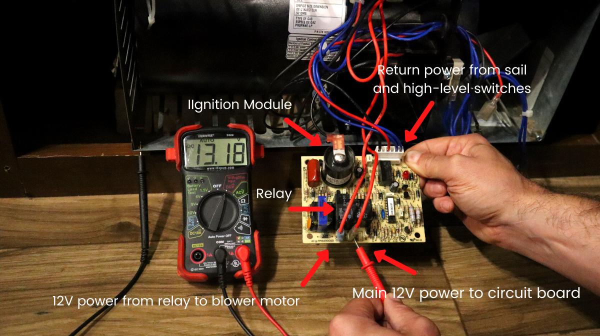 RV furnace - circuit board test