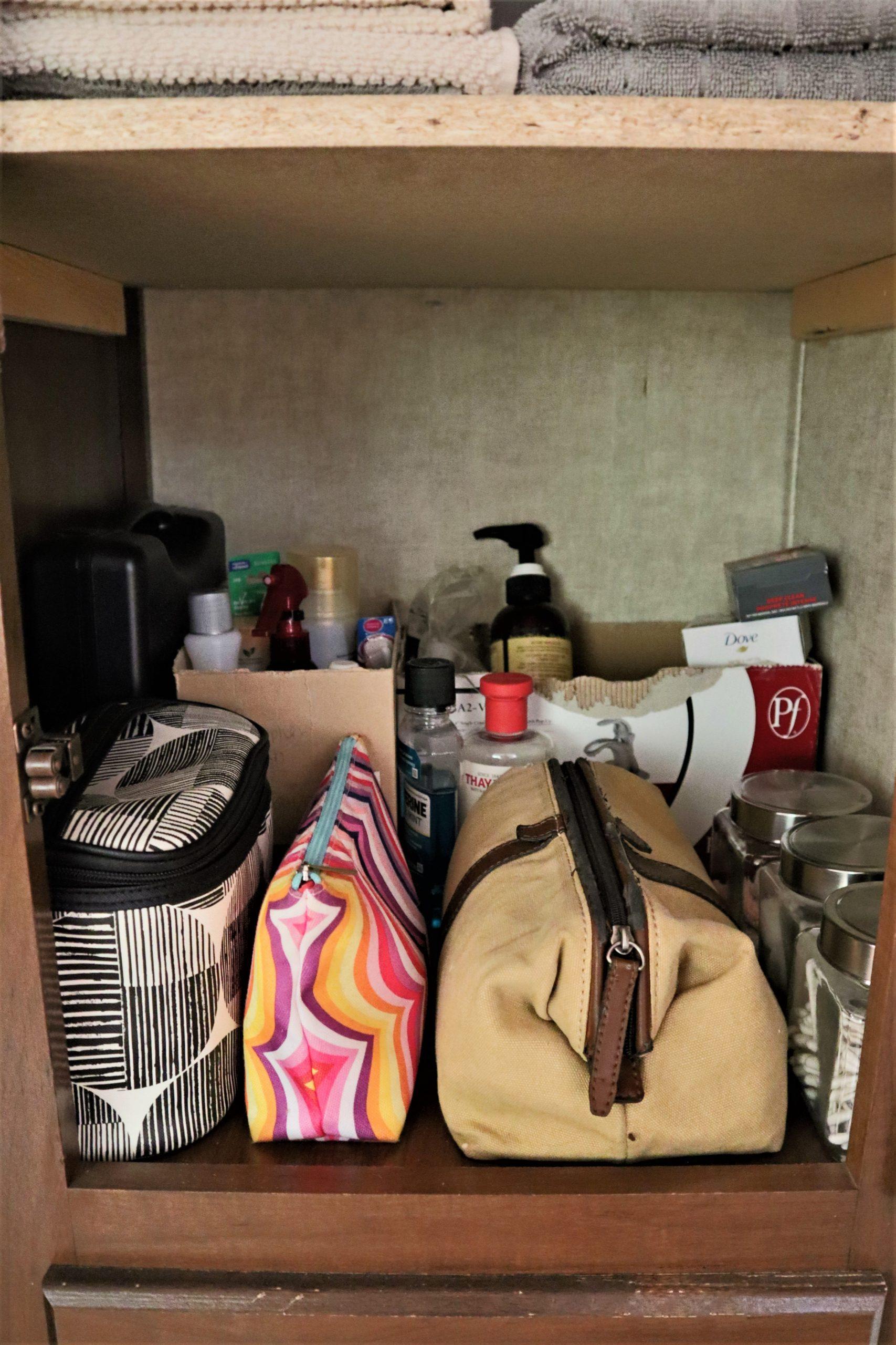 linen closet storage in an RV