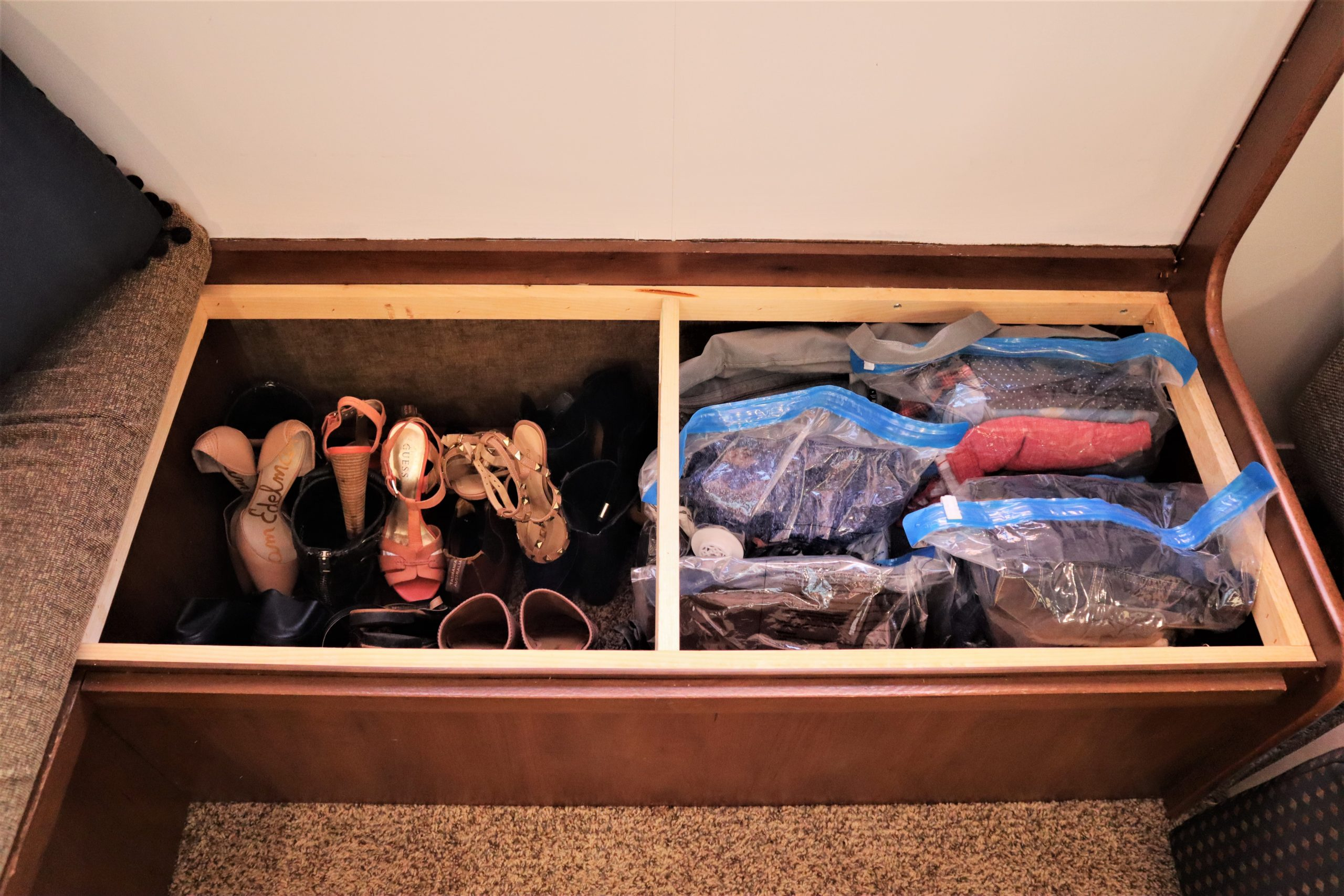 clothes in an RV
