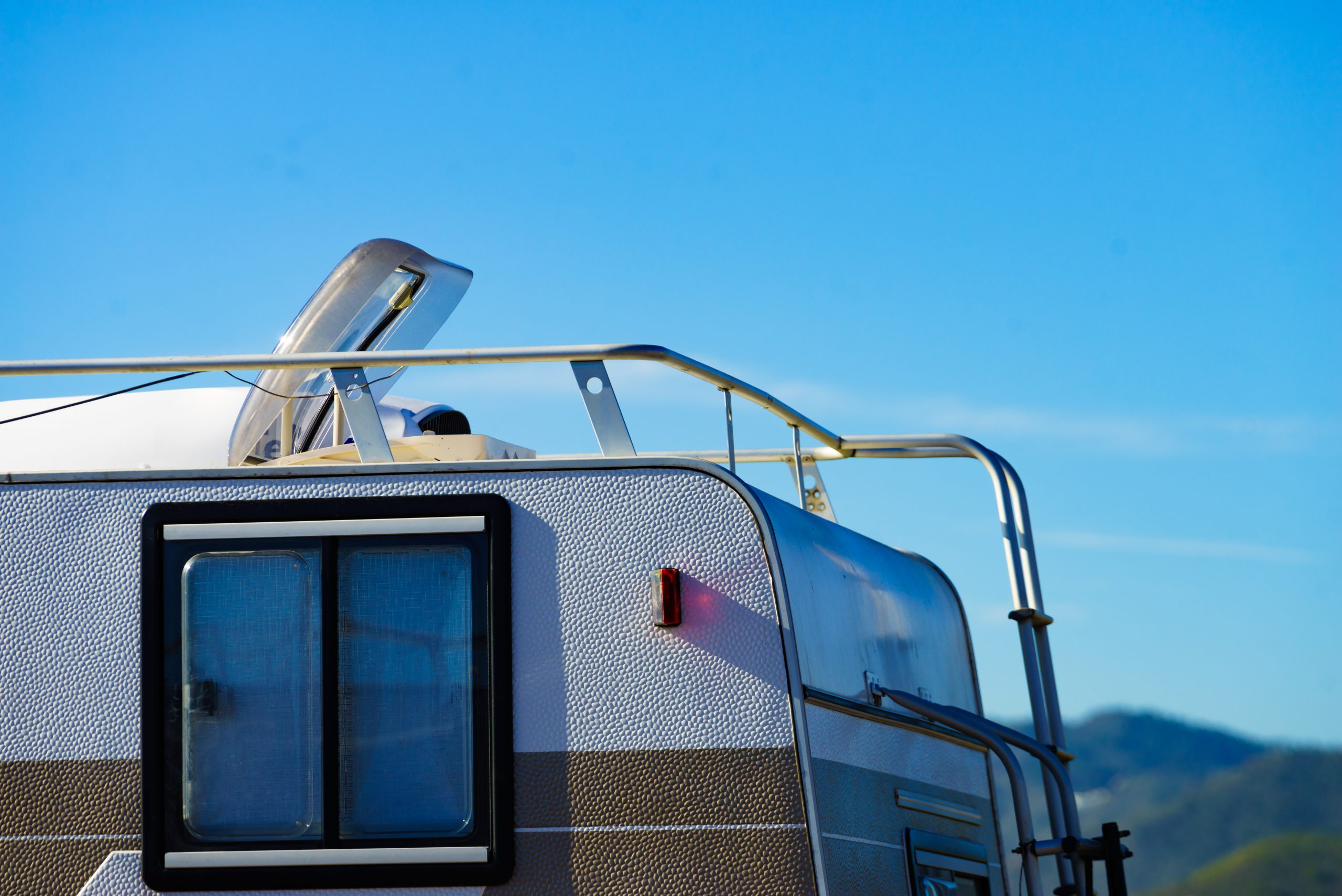 top of an RV with RV vent covers