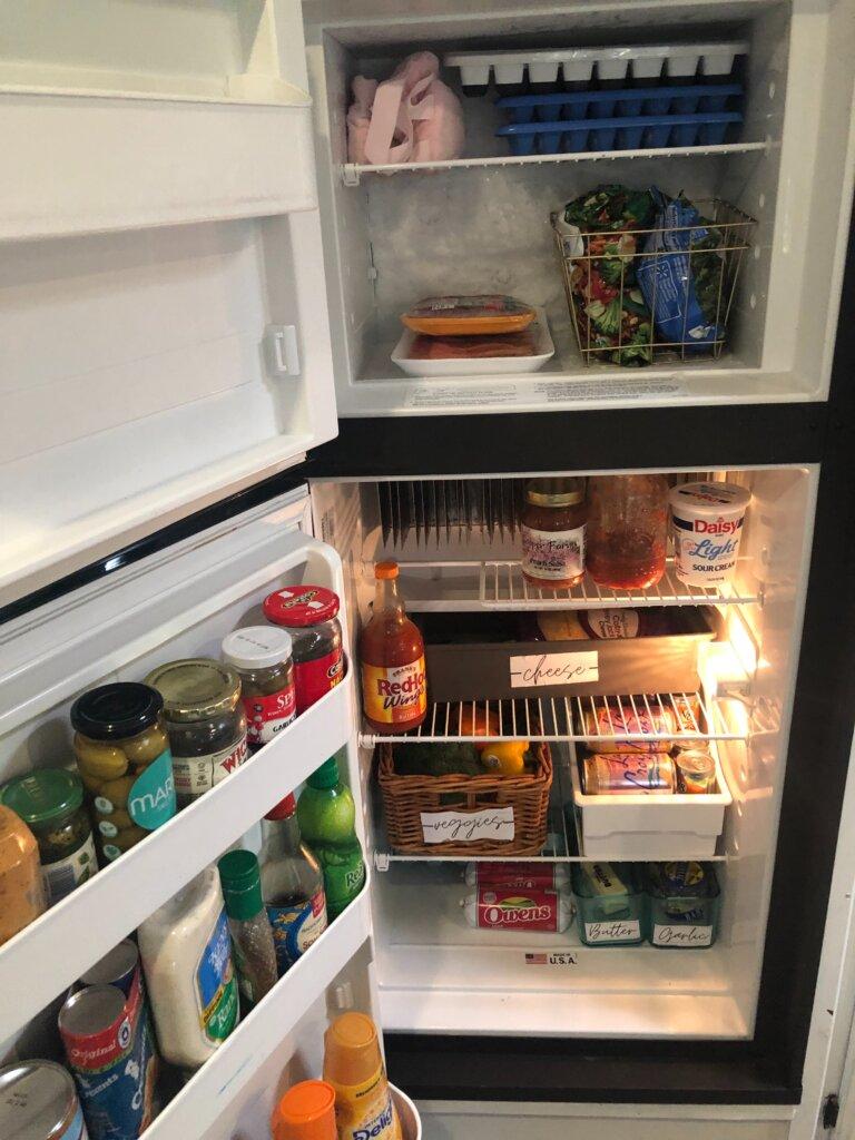 food in an RV fridge