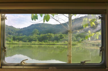 RV window replacement - view looking out of window