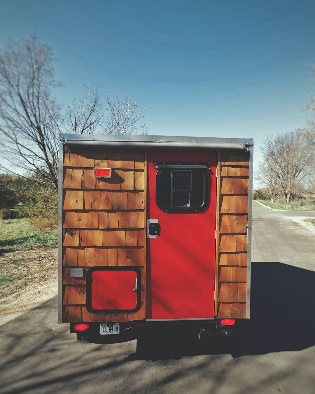 teardrop trailer being towed