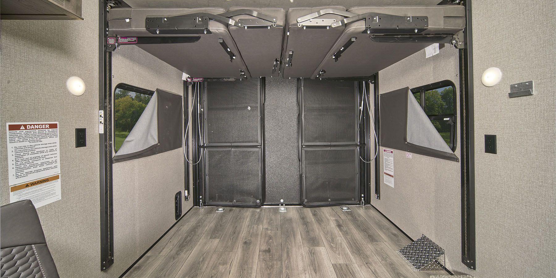 interior of toy hauler garage