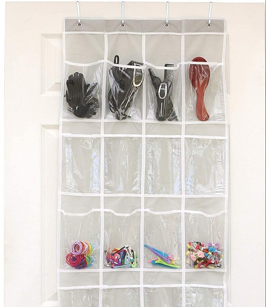 shoe organizer holding various items