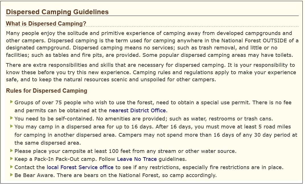 Dispersed Camping Rules