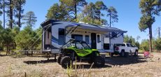 Toy hauler RV with rear ramp down