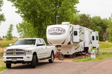 fifth wheel and truck at campsite