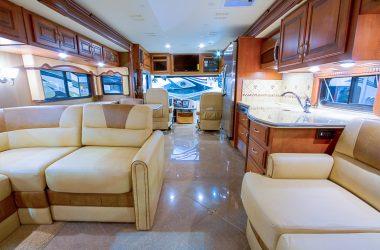 RV interior with bright lighting
