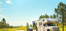 RV rental tips - rental motorhome parked on the road