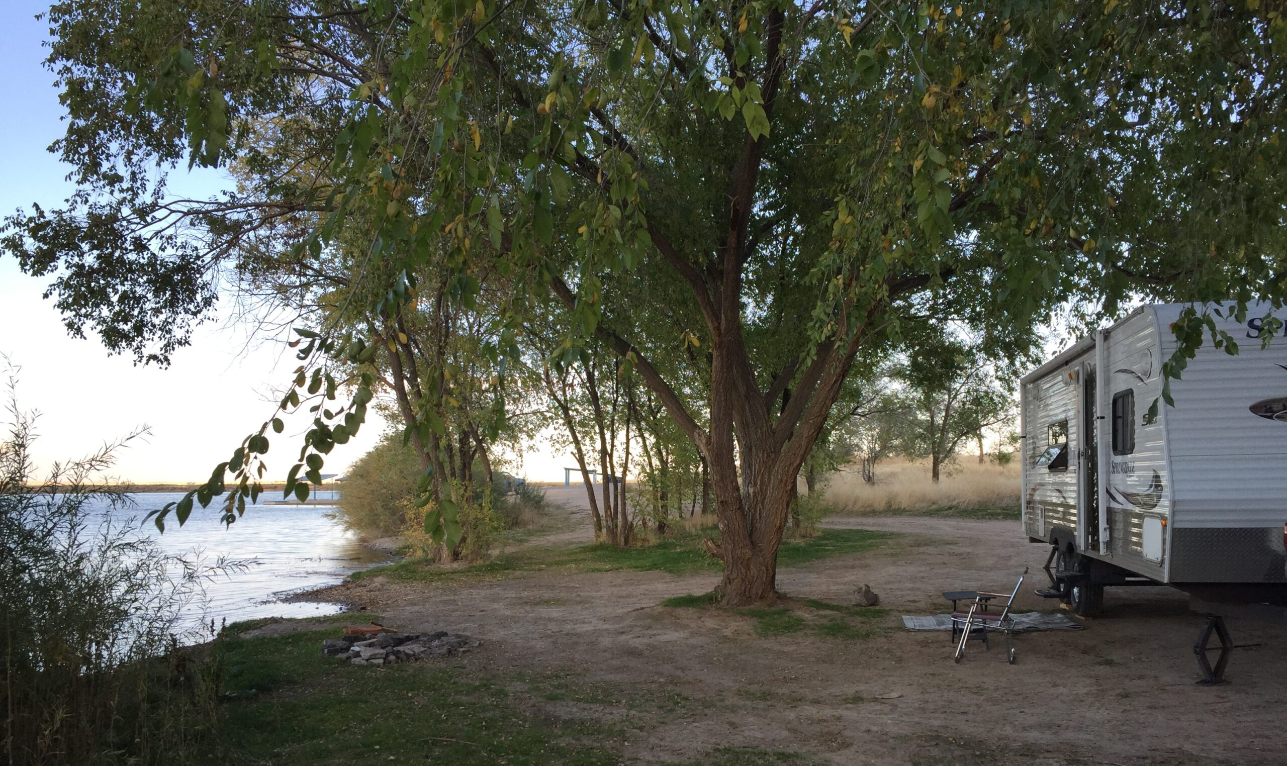 going off the grid in an RV by the water