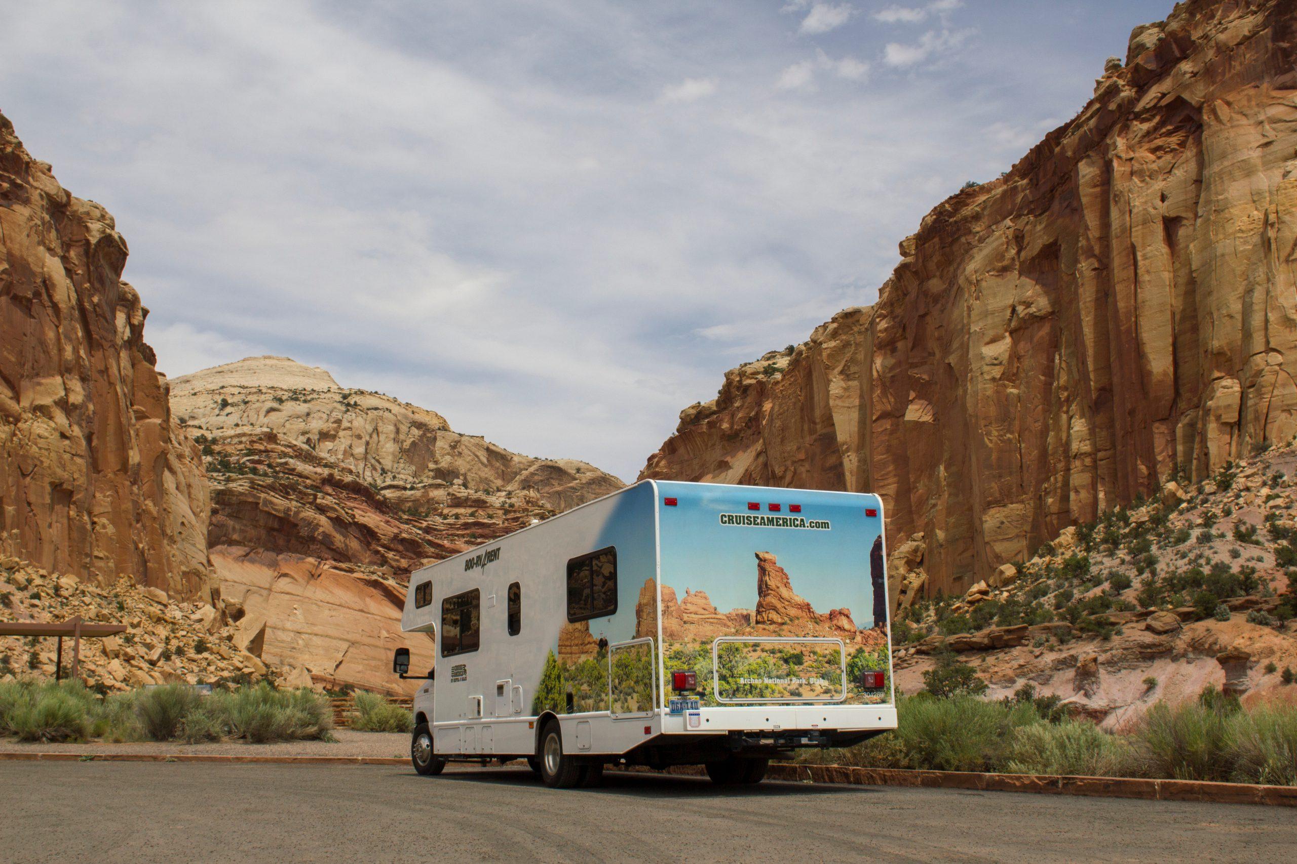 RV rental tips - rental motorhome parked on the road in Utah