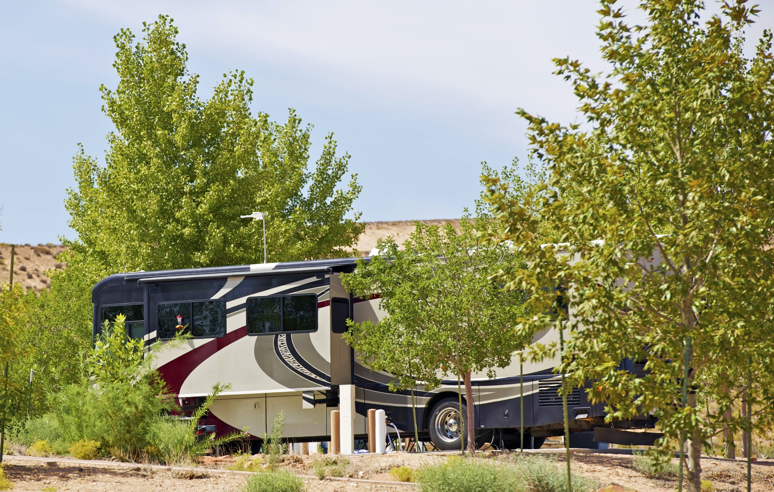 motorhome going off the grid in an RV park