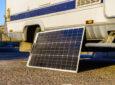 portable solar panel leaned on RV