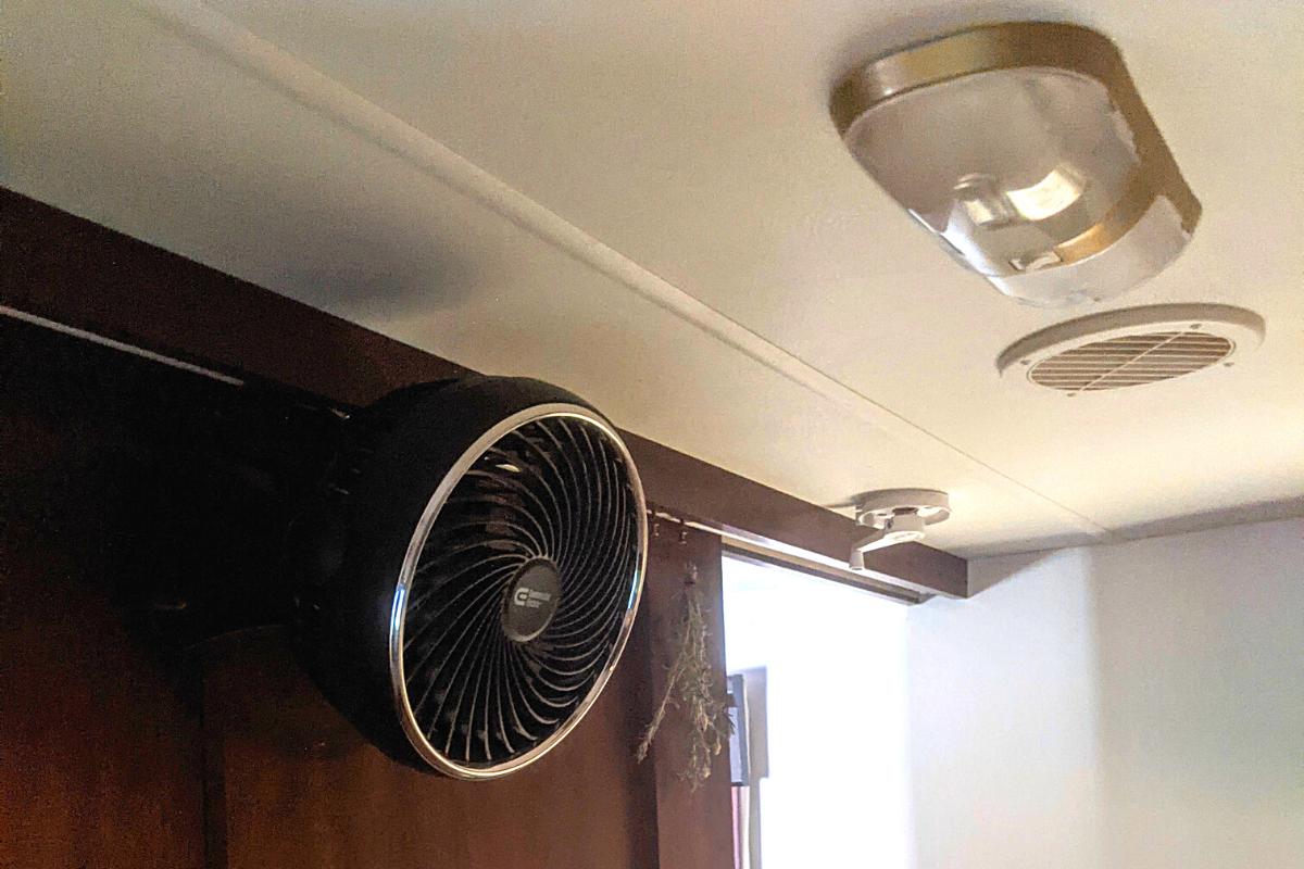 Small, wall mounted fan in bedroom of an RV - 12 volt fan for RV
