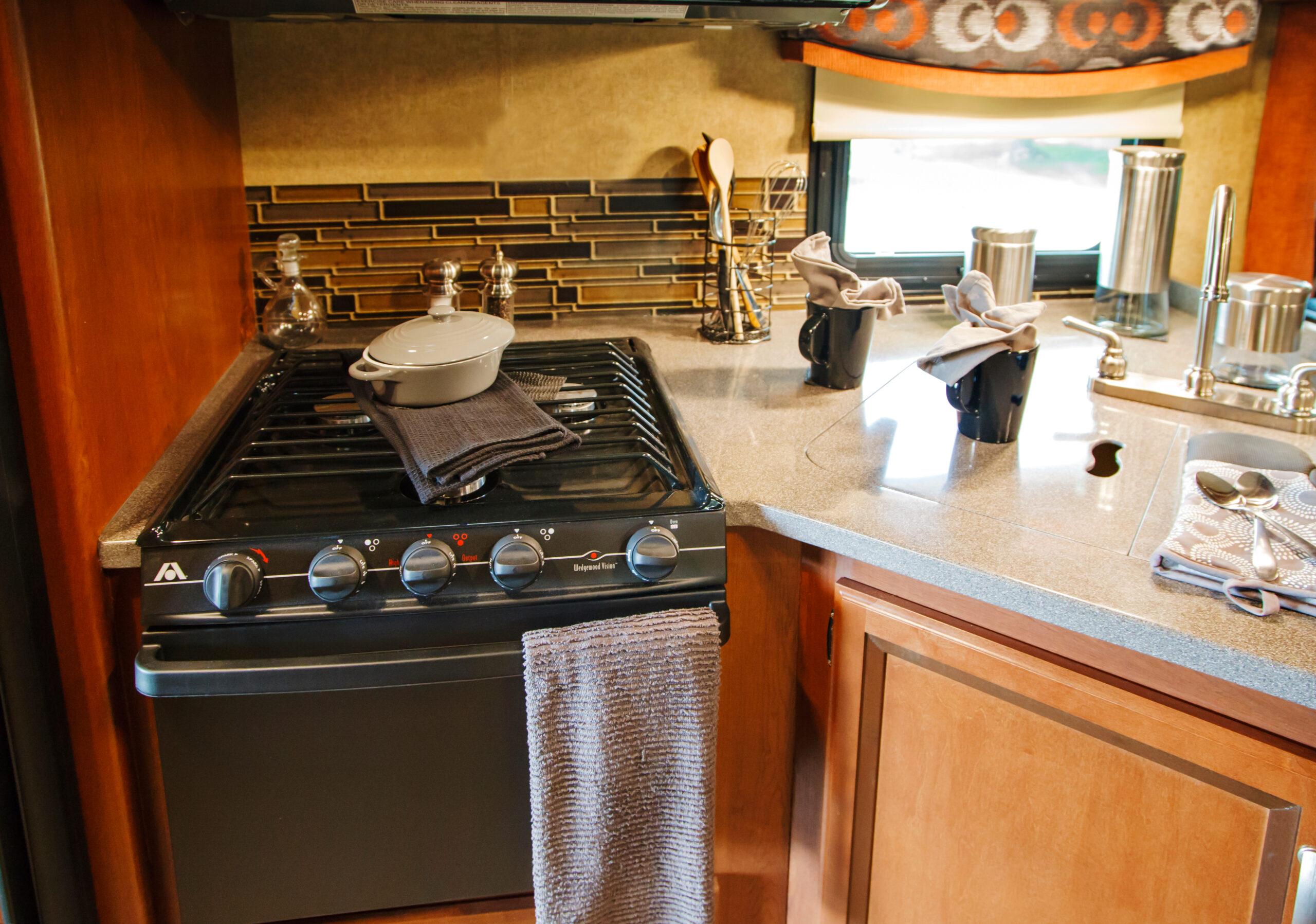 RV kitchen with DIY RV storage ideas