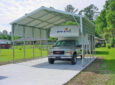 truck camper parked in DIY RV carport