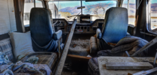 Interior of a RV partially torn apart - repairing RV wall water damage
