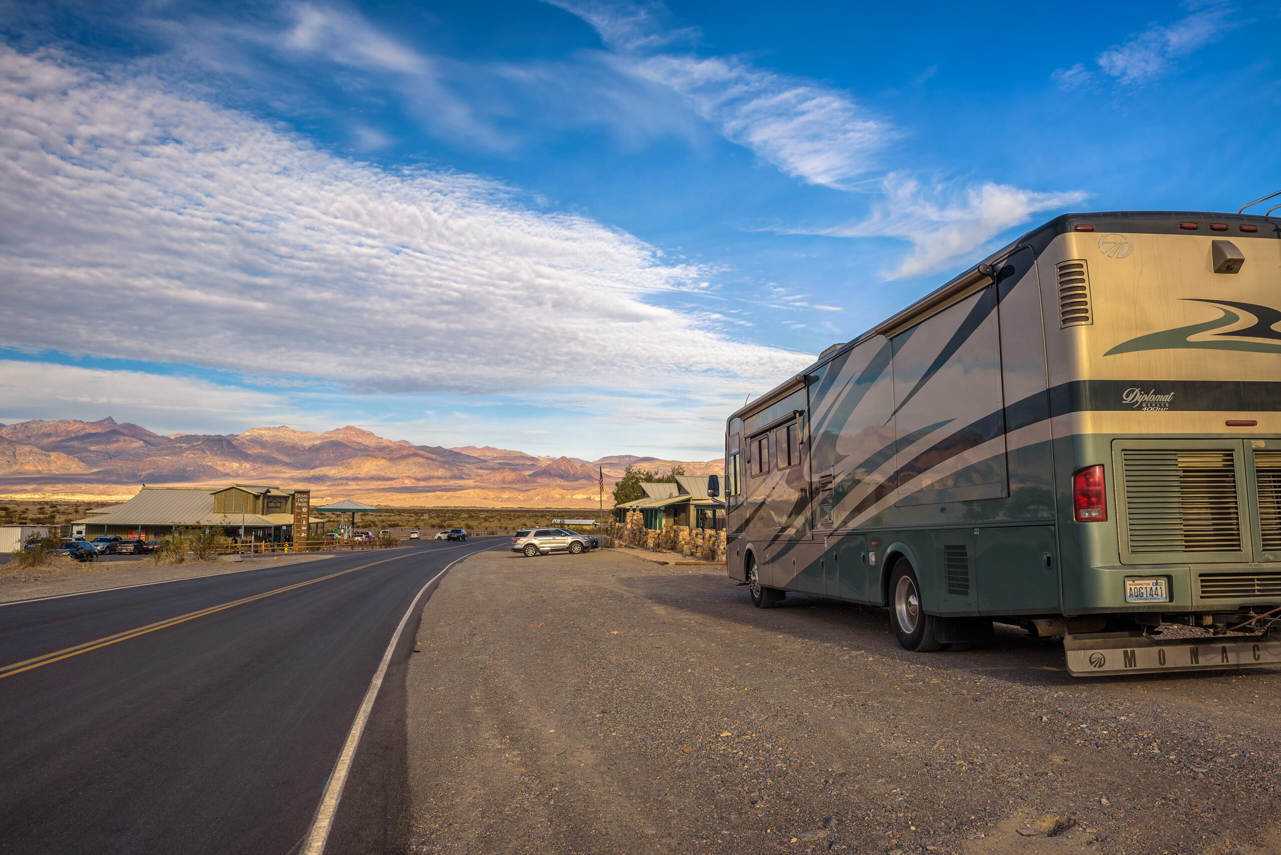 RV dry camping on side of the road