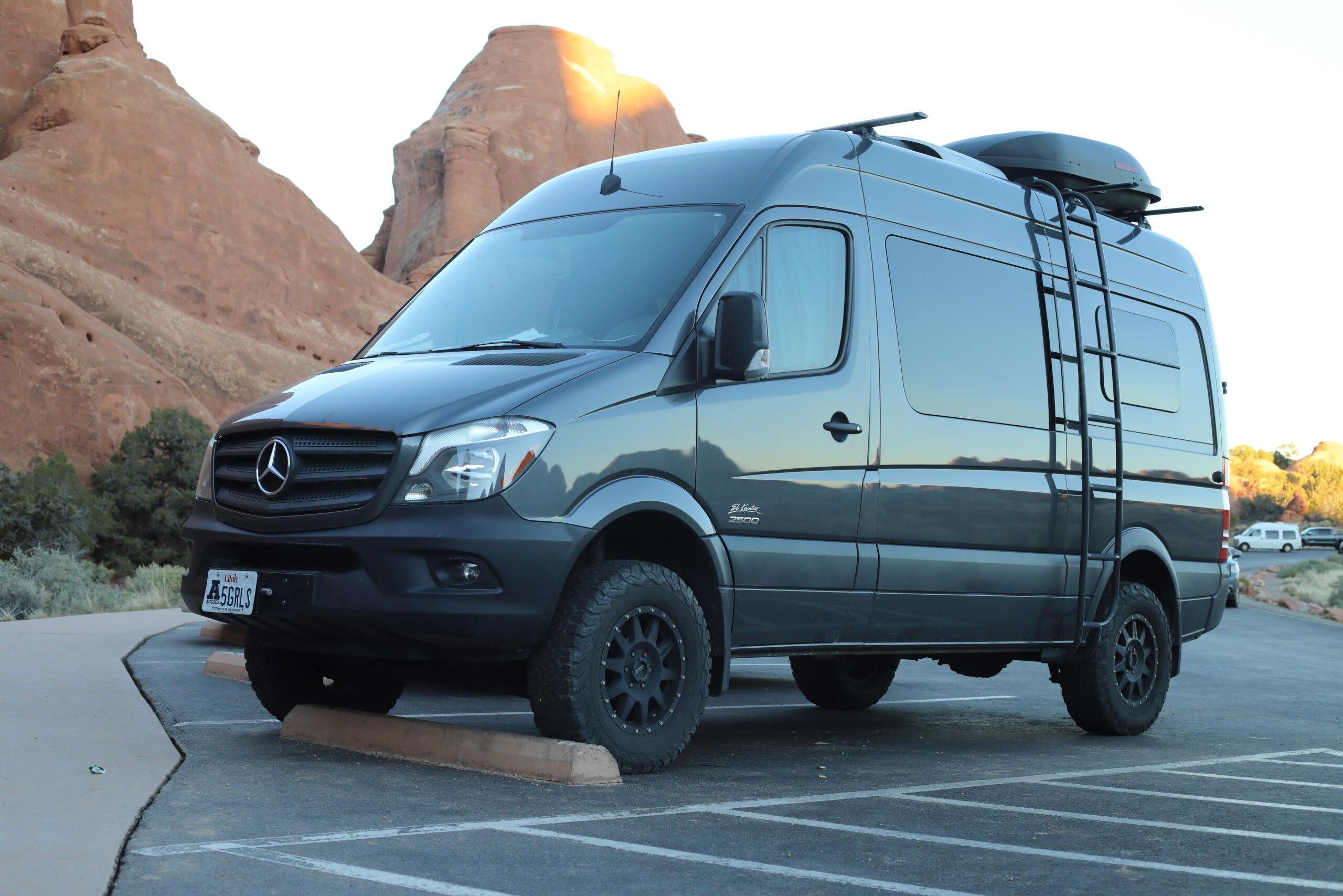 Sprinter van conversion parked in Utah