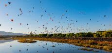 morning view of balloons while RV camping near Albuquerque