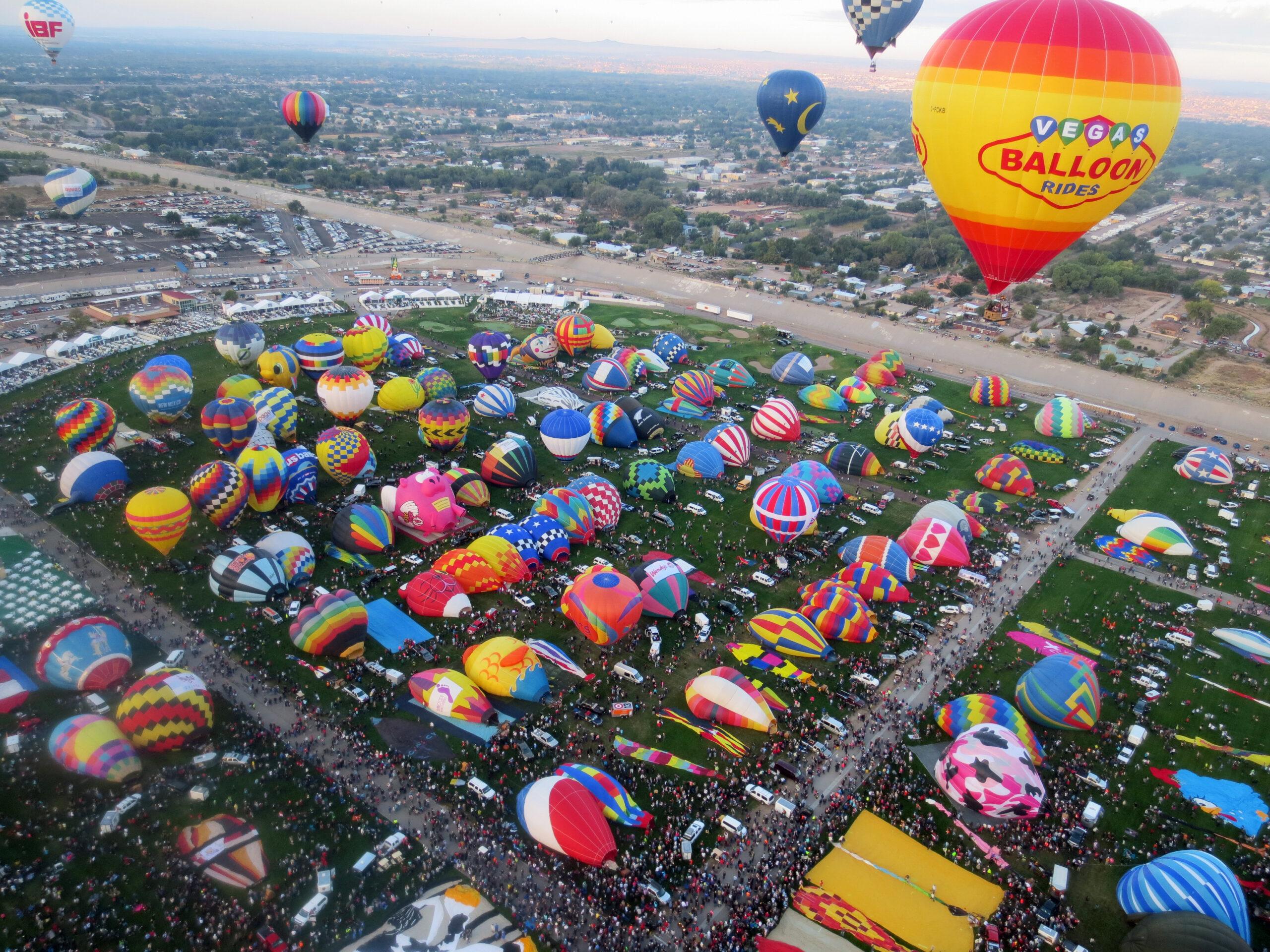 field full of hot air balloons at Albuquerque Balloon Fiesta - seen while RV camping near Albuquerque