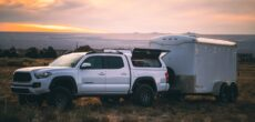 DIY teardrop camper at sunset