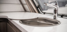 RV sink with RV drain cleaner