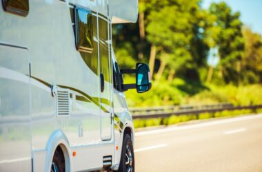 closeup of RV driving - how to charge an RV battery while driving